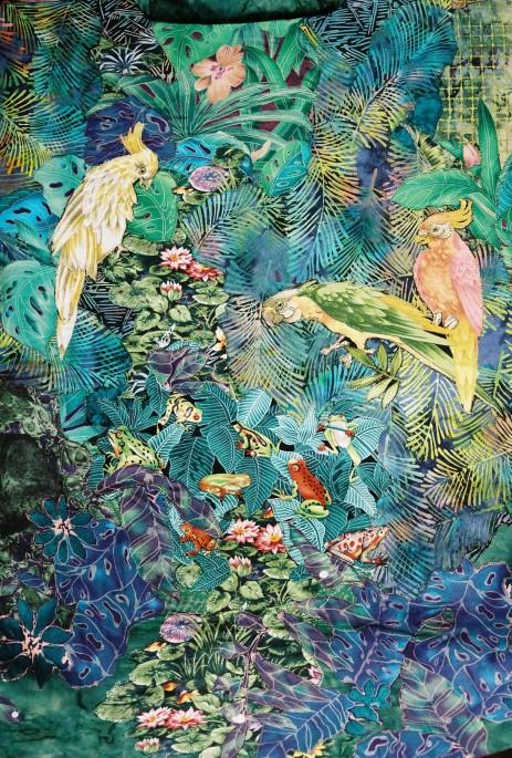 Parrots collage haori